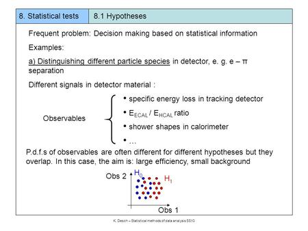 8. Statistical tests 8.1 Hypotheses K. Desch – Statistical methods of data analysis SS10 Frequent problem: Decision making based on statistical information.