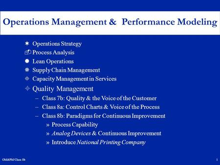 OM&PM/Class 8b1 ¬Operations Strategy ­Process Analysis ®Lean Operations ¯Supply Chain Management °Capacity Management in Services ±Quality Management –Class.