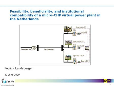 1 Feasibility, beneficiality, and institutional compatibility of a micro-CHP virtual power plant in the Netherlands Patrick Landsbergen 30 June 2009.