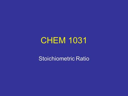 CHEM 1031 Stoichiometric Ratio. Procedure PUT GOGGLES AND APRONS ON. Equipment Needed (per pair): (2) 400 mL beakers (2) 100 mL graduated cylinders (1)