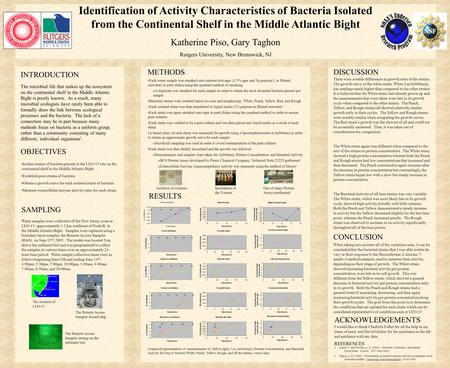 Identification of Activity Characteristics of Bacteria Isolated from the Continental Shelf in the Middle Atlantic Bight Katherine Piso, Gary Taghon Rutgers.