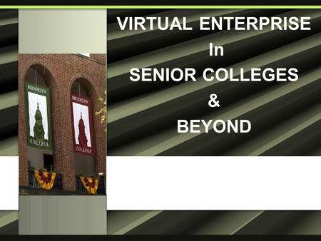 VIRTUAL ENTERPRISE In SENIOR COLLEGES & BEYOND. Goal Situation VE is further expanding into senior colleges Task To develop and implement supporting activities.