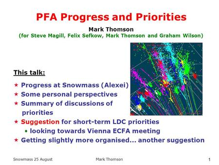 Snowmass 25 AugustMark Thomson 1 PFA Progress and Priorities Mark Thomson (for Steve Magill, Felix Sefkow, Mark Thomson and Graham Wilson)  Progress at.