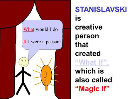 "What would I do If I were a peasant STANISLAVSKI is creative person that created ""What If"", which is also called ""Magic If"""