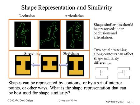 © 2003 by Davi GeigerComputer Vision November 2003 L1.1 Shape Representation and Similarity OcclusionArticulation Shape similarities should be preserved.