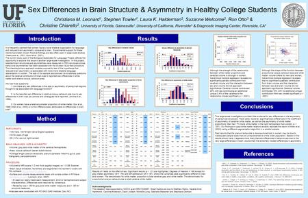 Sex Differences in Brain Structure & Asymmetry in Healthy College Students Christiana M. Leonard 1, Stephen Towler 1, Laura K. Halderman 2, Suzanne Welcome.