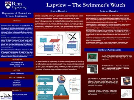 Lapview – The Swimmer's Watch GROUP 9 PRESENTERS DEMO DATE SPECIAL THANKS TO ADVISOR PRESENTERS Thursday April 24 th, 2008 Department of Electrical and.