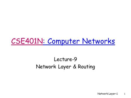 Network Layer-11 CSE401N: Computer Networks Lecture-9 Network Layer & Routing.
