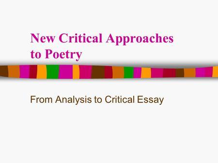 Poetry Critical Essay
