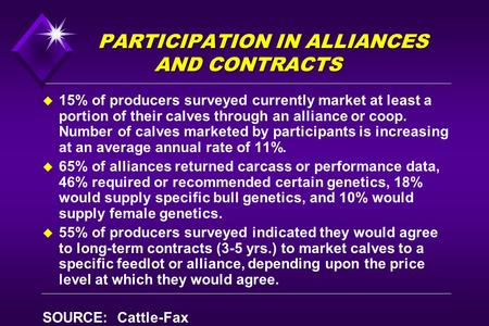PARTICIPATION IN ALLIANCES AND CONTRACTS u 15% of producers surveyed currently market at least a portion of their calves through an alliance or coop. Number.