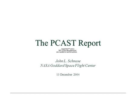 The PCAST Report John L. Schnase NASA Goddard Space Flight Center 13 December 2004.
