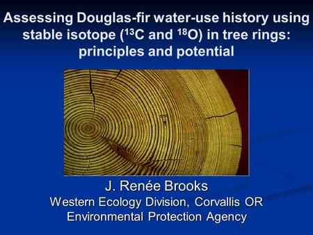 Assessing Douglas-fir water-use history using stable isotope ( 13 C and 18 O) in tree rings: principles and potential J. Renée Brooks Western Ecology Division,