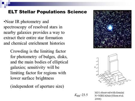 ELT Stellar Populations Science Near IR photometry and spectroscopy of resolved stars in nearby galaxies provides a way to extract their entire star formation.