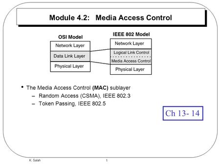 1 K. Salah Module 4.2: Media Access Control The Media Access Control (MAC) sublayer –Random Access (CSMA), IEEE 802.3 –Token Passing, IEEE 802.5 Ch 13-