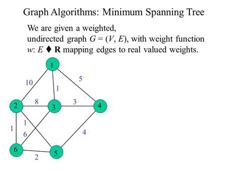 Graph Algorithms: Minimum Spanning Tree 1 2 3 4 6 5 10 1 5 4 3 2 6 1 1 8 We are given a weighted, undirected graph G = (V, E), with weight function w: