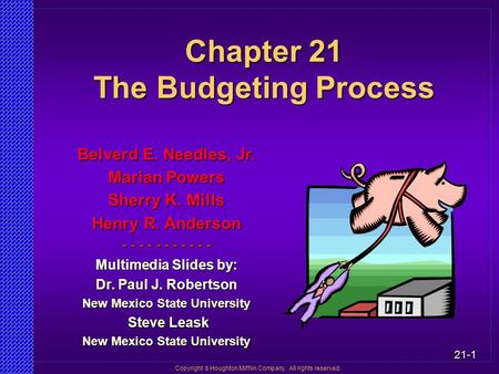 Chapter 21 The Budgeting Process