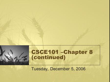 CSCE101 –Chapter 8 (continued) Tuesday, December 5, 2006.