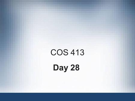 COS 413 Day 28. Agenda Assignment 10 Posted –Due Dec 3:35 PM Final Capstone Progress Report Overdue Finish Discussion on Ethics for the Expert Witness.