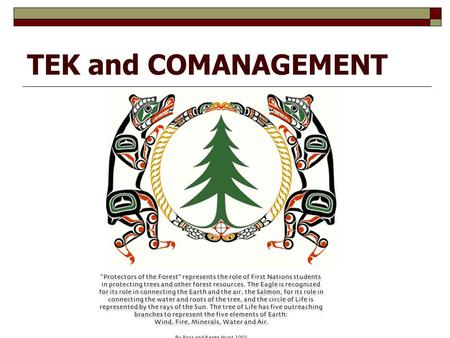 TEK and COMANAGEMENT. Order of Presentation  TEK / IK (Naomi)  Medicine (Colin)  Haida and wood (Teri)  INCOPORATING TEK (Brian)  Community Forestry.