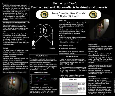 "Contact: Online I am ""We"": Contrast and assimilation effects in virtual environments Jesse Chandler, Sara Konrath & Norbert Schwarz."
