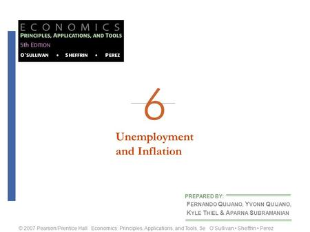 Unemploymentand Inflation F ERNANDO Q UIJANO, Y VONN Q UIJANO, K YLE T HIEL & A PARNA S UBRAMANIAN PREPARED BY: © 2007 Pearson/Prentice Hall Economics: