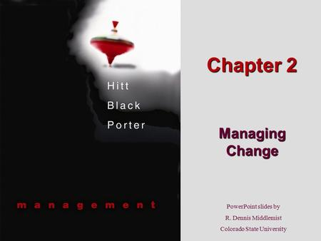 PowerPoint slides by R. Dennis Middlemist Colorado State University Chapter 2 Managing Change.