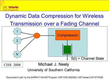 Dynamic Data Compression for Wireless Transmission over a Fading Channel Michael J. Neely University of Southern California CISS 2008 *Sponsored in part.