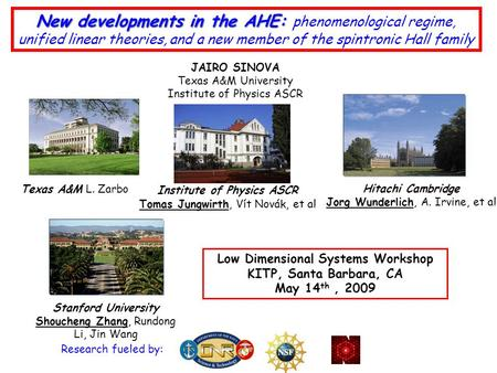 New developments in the AHE: New developments in the AHE: phenomenological regime, unified linear theories, and a new member of the spintronic Hall family.