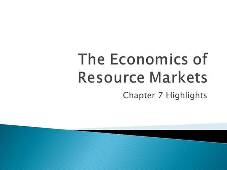 Chapter 7 Highlights.  Households ◦ sell resources in the resource market ◦ buy products in the product market  Businesses ◦ buy resources in the resource.