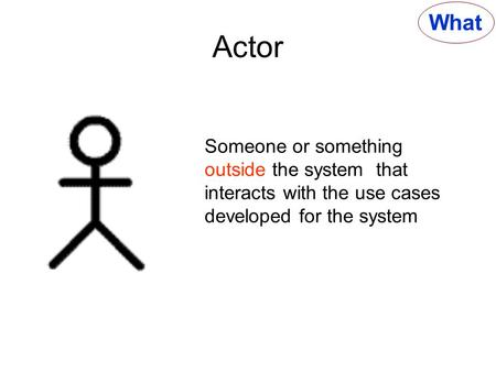 What Actor Someone or something outside the <strong>system</strong> that interacts with the use cases developed for the <strong>system</strong>.