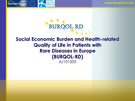 Social Economic Burden and Health-related Quality of Life in Patients with Rare Diseases in Europe (BURQOL-RD) A/101205 www.burqol-rd.com.