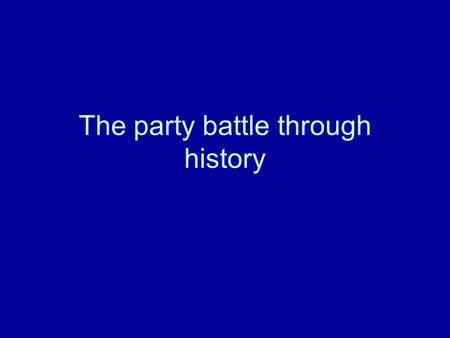 The party battle through history. 1788-1824 Party breakdown in the House.