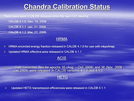 Chandra Calibration Status  Gain correction files for epochs 35 (Aug. – Oct. 2008) and 36 (Nov. 2008 - Jan.2009) were released in CALDB versions 4.1.0.