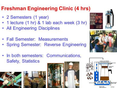 Freshman Engineering Clinic (4 hrs) 2 Semesters (1 year) 1 lecture (1 hr) & 1 lab each week (3 hr) All Engineering Disciplines Fall Semester: Measurements.