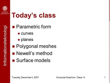 Computer Graphics - Class 14