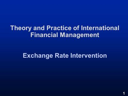 Foreign exchange theory