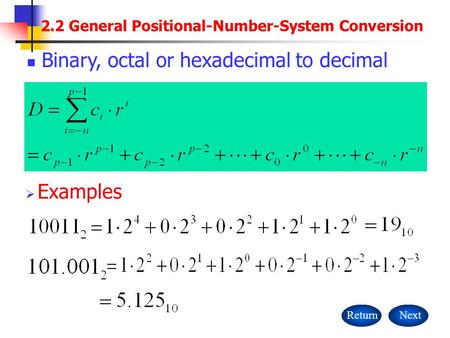2.2 General Positional-Number-System Conversion