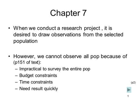 1 Chapter 7 When we conduct a research project, it is desired to draw observations from the selected population However, we cannot observe all pop because.