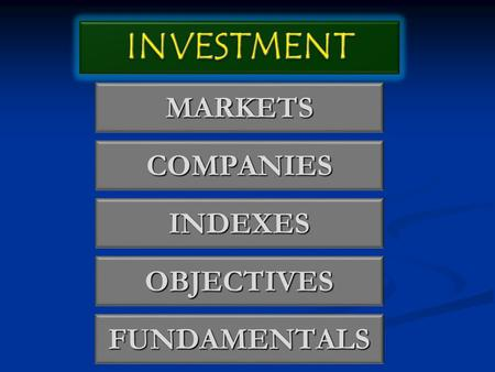 MARKETS COMPANIES INDEXES OBJECTIVES FUNDAMENTALS.