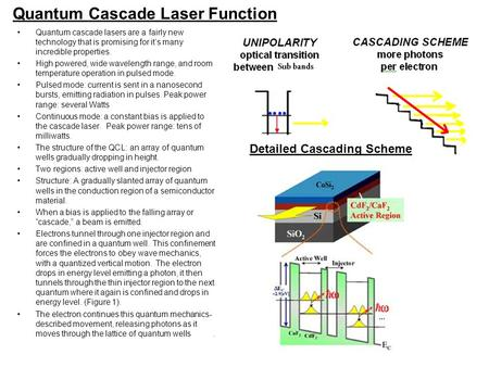 Quantum Cascade Laser Function Quantum cascade lasers are a fairly new technology that is promising for it's many incredible properties. High powered,