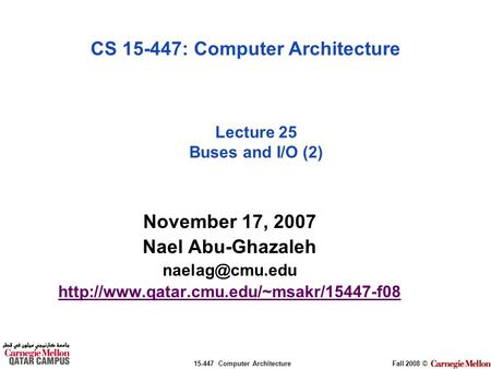 Lecture 25 Buses and I/O (2)
