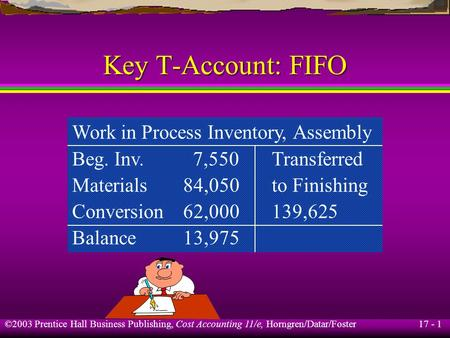 17 - 1 ©2003 Prentice Hall Business Publishing, Cost Accounting 11/e, Horngren/Datar/Foster Key T-Account: FIFO Work in Process Inventory, Assembly Beg.