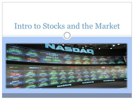 An introduction to my stock market experience