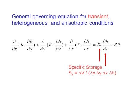 General governing equation for transient, heterogeneous, and anisotropic conditions Specific Storage S s =  V / (  x  y  z  h)