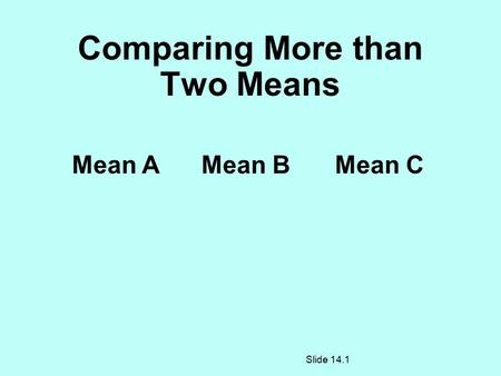 Comparing More than Two Means Mean AMean BMean C Slide 14.1.