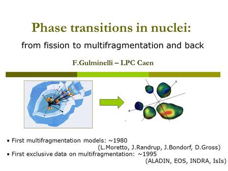 Phase transitions in nuclei: from fission to multifragmentation and back F.Gulminelli – LPC Caen First multifragmentation models: ~1980 (L.Moretto, J.Randrup,