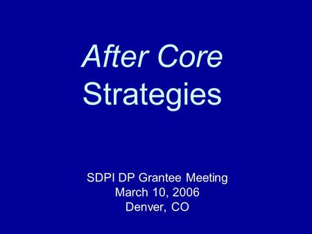 After Core Strategies SDPI DP Grantee Meeting March 10, 2006 Denver, CO.