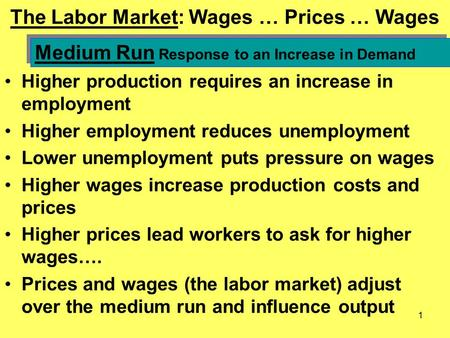 1 The Labor Market: Wages … Prices … Wages Higher production requires an increase in employment Higher employment reduces unemployment Lower unemployment.