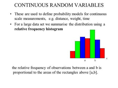 CONTINUOUS RANDOM VARIABLES These are used to define probability models for continuous scale measurements, e.g. distance, weight, time For a large data.