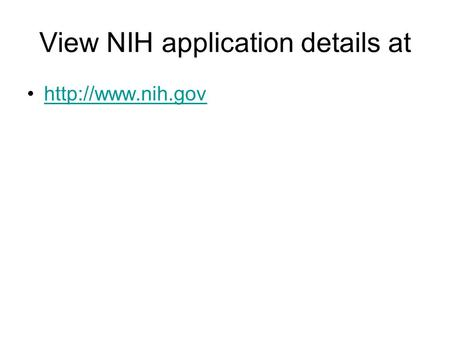 View NIH application details at
